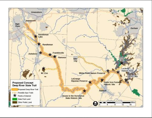 Nc State Map County.Concept Map Showing The Five County Deep River State Trail Corridor