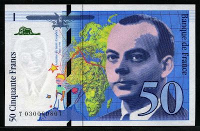 Pre-euro money from France 50 French Francs Antoine de Saint-Exupéry banknote of 1997, issued by the Bank of France - Banque de France.