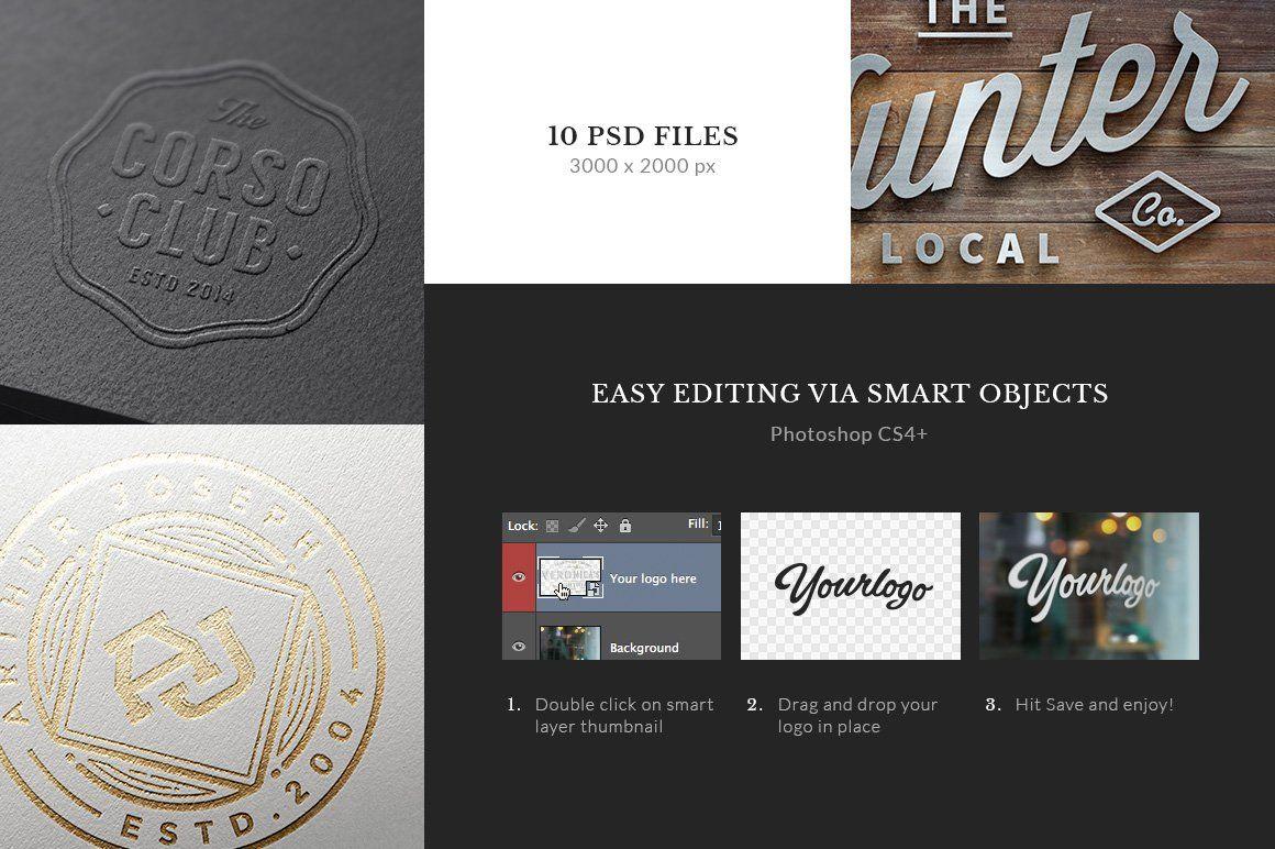 10 Logo/Badge MockUps Vol.1 Branding template, 10 logo