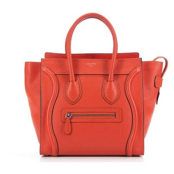 Celine Pre-Owned Celine Orange Drummed Leather Micro Luggage Bag... ($2,624) ❤ liked on Polyvore featuring bags, handbags, orange, zipper bag, vintage bags, red leather bag, strap bag and handle bag