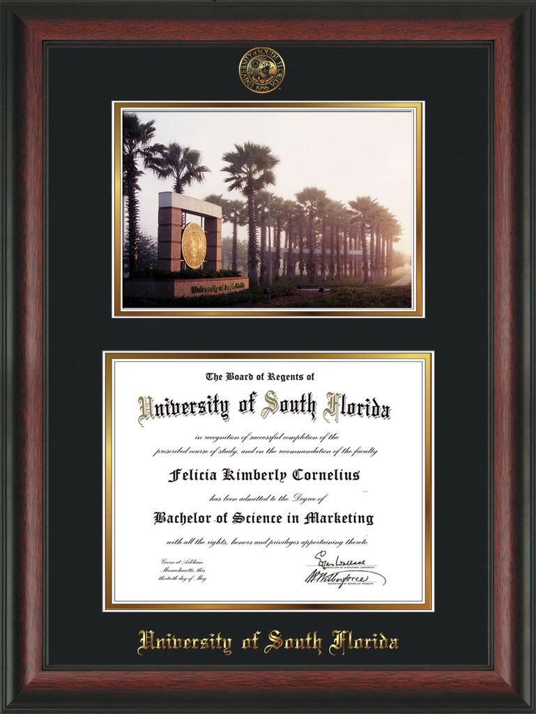 University of South Florida Diploma Frame - Rosewood - w/Embossed ...