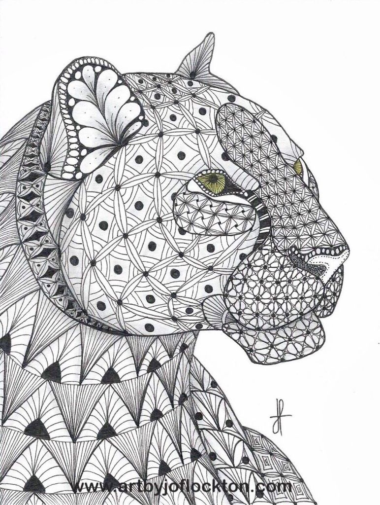 Tangled Leopard Animal Coloring Pages Coloring Pages Zentangle Animals