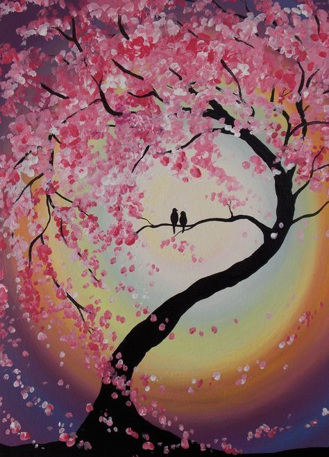 Canvas Art Tree In 2020 Tree Painting Canvas Cherry Blossom Painting Tree Art