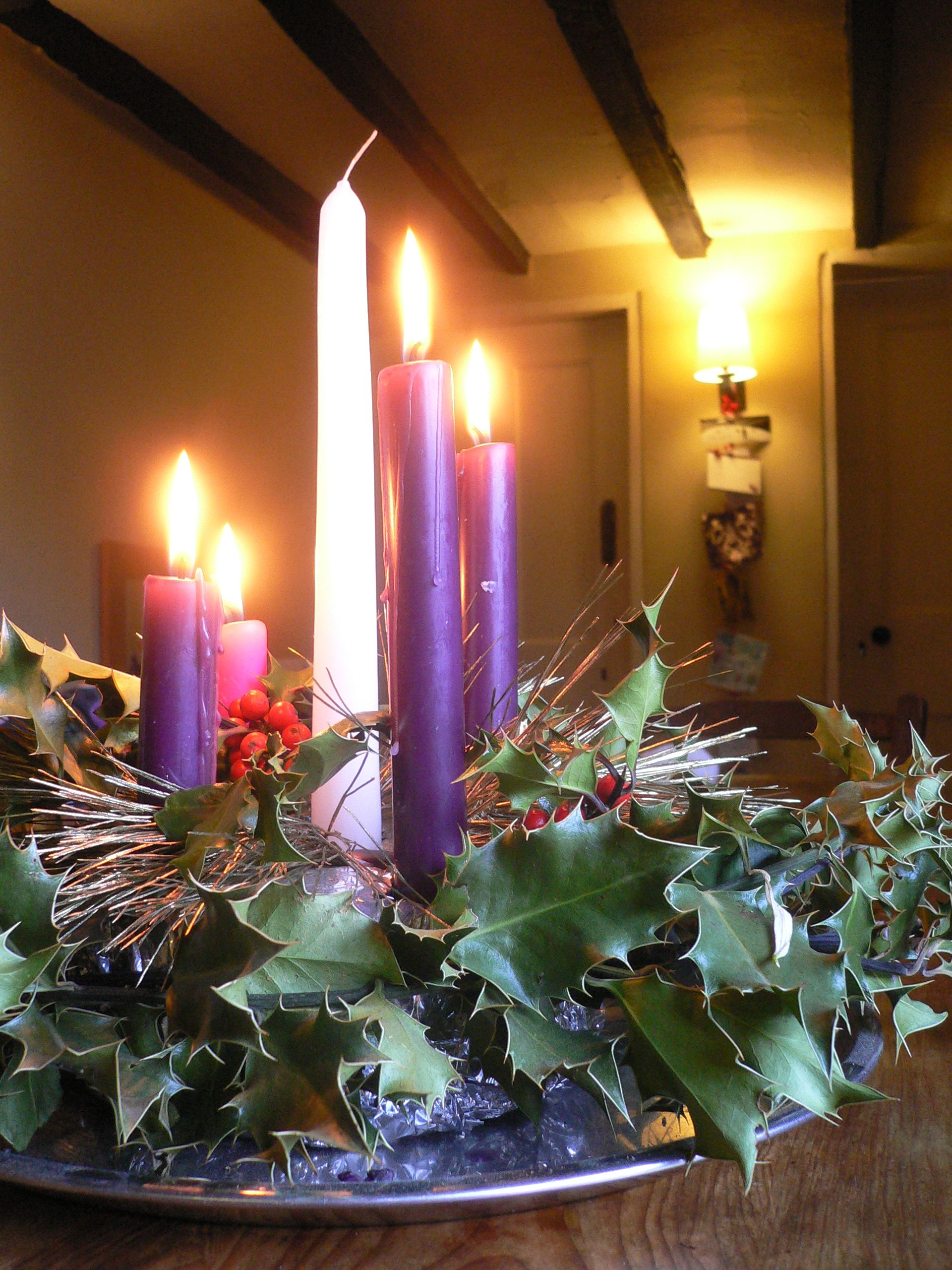 The Ring Or Wheel Of The Advent Wreath Of Evergreens Decorated With