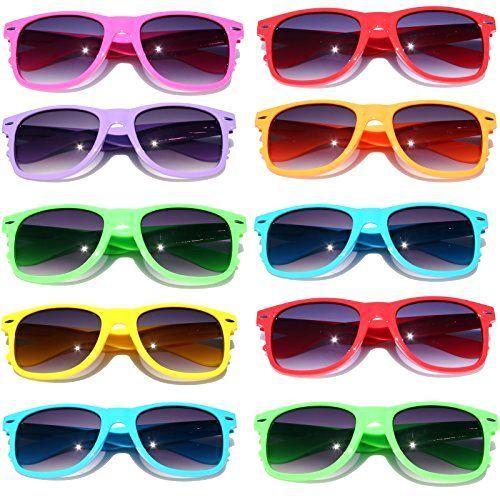 0f88d293fc wayfarer sunglasses 10 bulk pack lot neon color 80 s retro classic party  glas... from  45.98