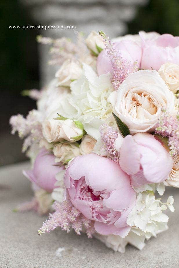 Gorgeous Bridal bouquet with blush garden roses, and astilbe, champagne spray roses, pale pink peonies and white hydrangeas. Photo taken by Andreas Impressions Photography. For more beautiful wedding flower ideas check out www.sugarbloom.ca