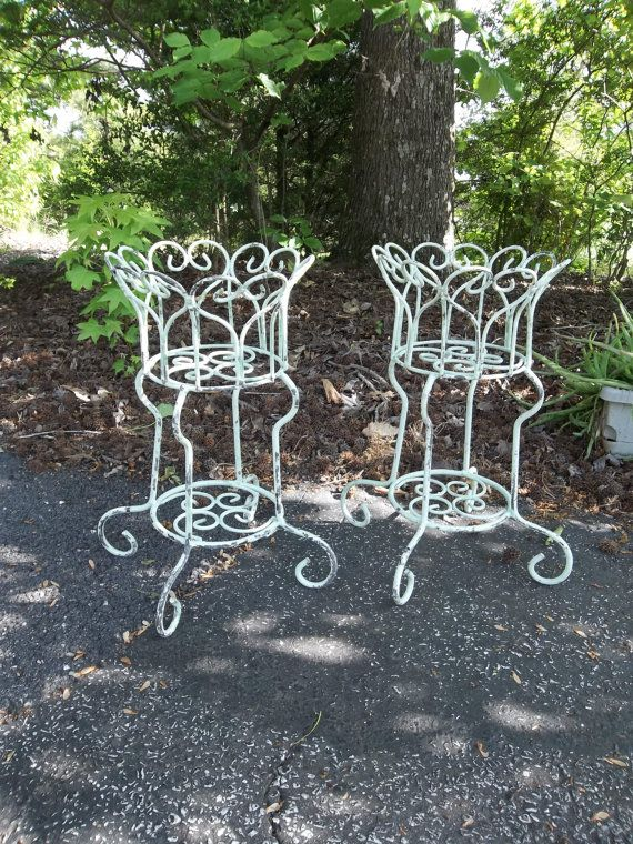 Vintage Garden Decor Wrought Iron Plant Stands by misshettie