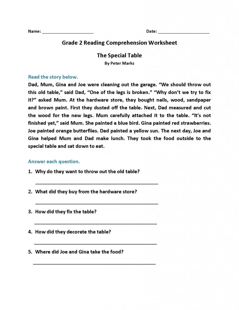 2nd Grade Reading Worksheets - Best Coloring Pages For Kids   2nd grade  reading worksheets [ 1024 x 791 Pixel ]