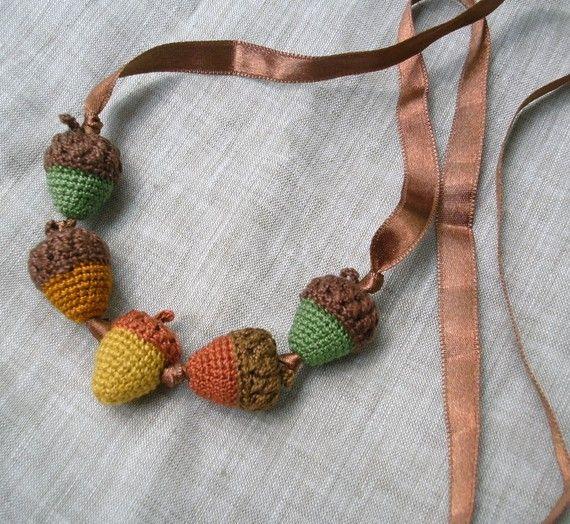 Amigurumi Acorns Crochet Beads Necklace, Spring Summer Jewelry ...