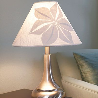A plain lampshade becomes instant art when you add a paper design to the inside