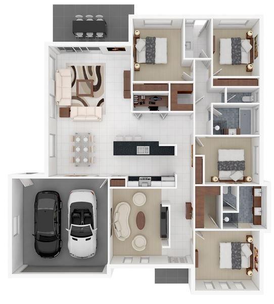 Planos De Casas En 3d Con 4 Dormitorios Casas En 3d Casa De 4 Dormitorios Planos De Casas