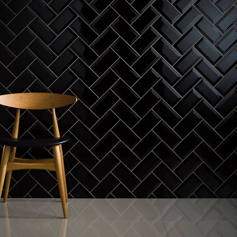 Bevel Brick Black Black Subway Tiles Subway Tile Bevelled Tiles