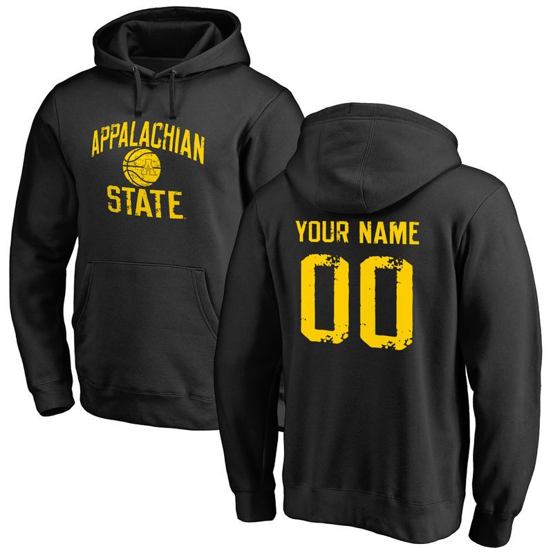 6814d217e12 Appalachian State Mountaineers Distressed Basketball Pullover Hoodie - Black
