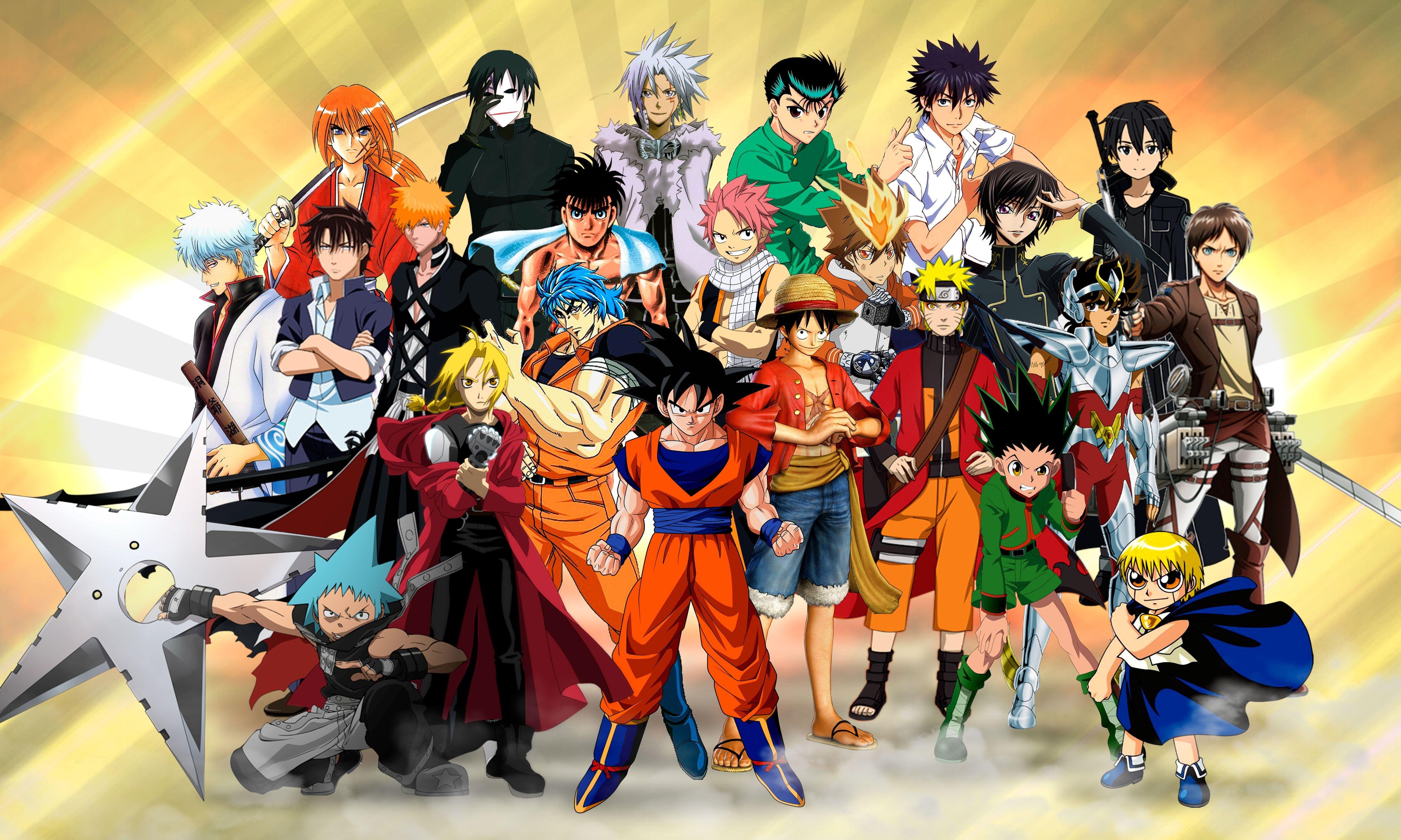Assorted Anime Characters Illustration Anime Characters 3d Wallpaper Eren Jeager Hei Shingeki No Kyojin Son Goku Mon Anime Crossover Anime Anime Warrior Girl
