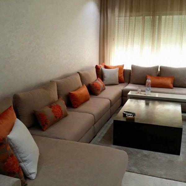 salon marocain moderne orange ivoire en U de interieur sur ...