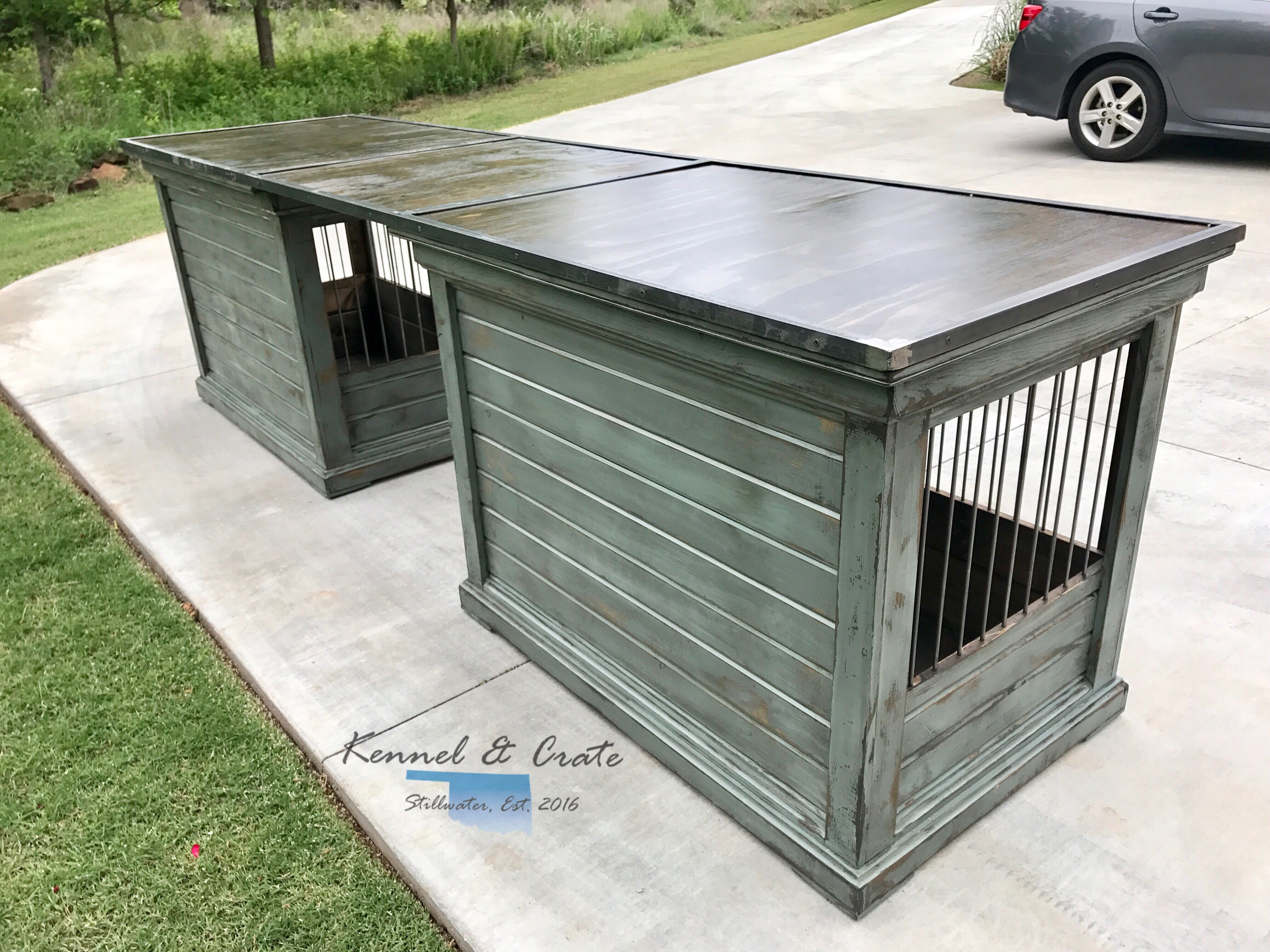 this farm house style dog kennel is created by two extra