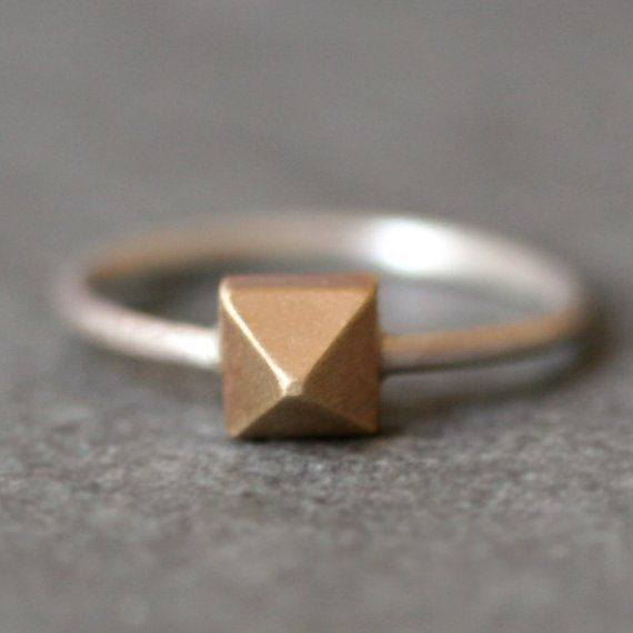 Pyramid Ring in 14K Gold and Sterling Silver