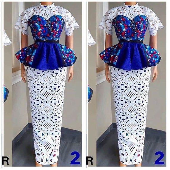 African print blouse Peplum blouse Long pencil ski