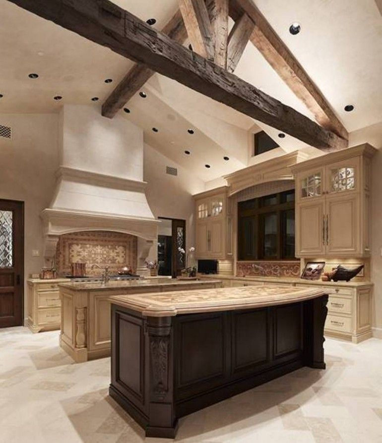 Large Tuscan Kitchen Design With Double Islands