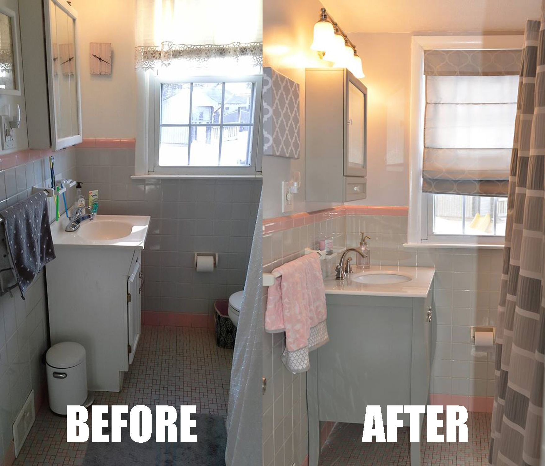Pink and Grey Bathroom makeover. Sink: http://www.homedecorators.