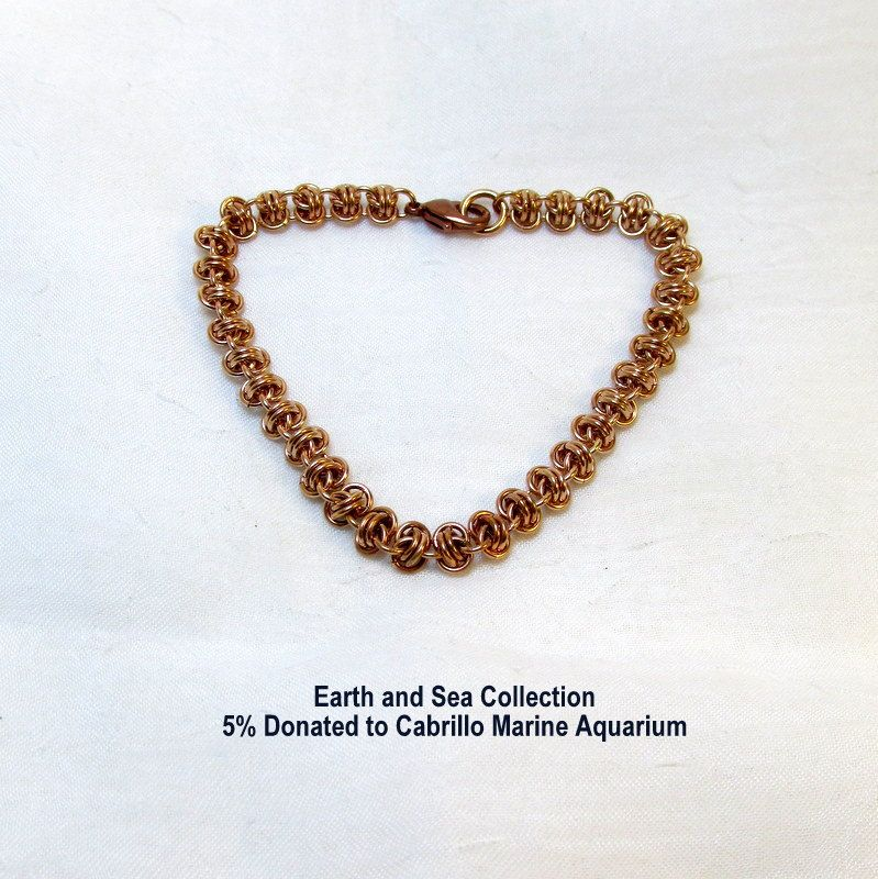 Fine Solid Bronze Chainmaille Bracelet in Barrel Weave - Earth and Sea Collection 5% Donated to Cabrillo Marine Aquarium by ThreePineHill on Etsy