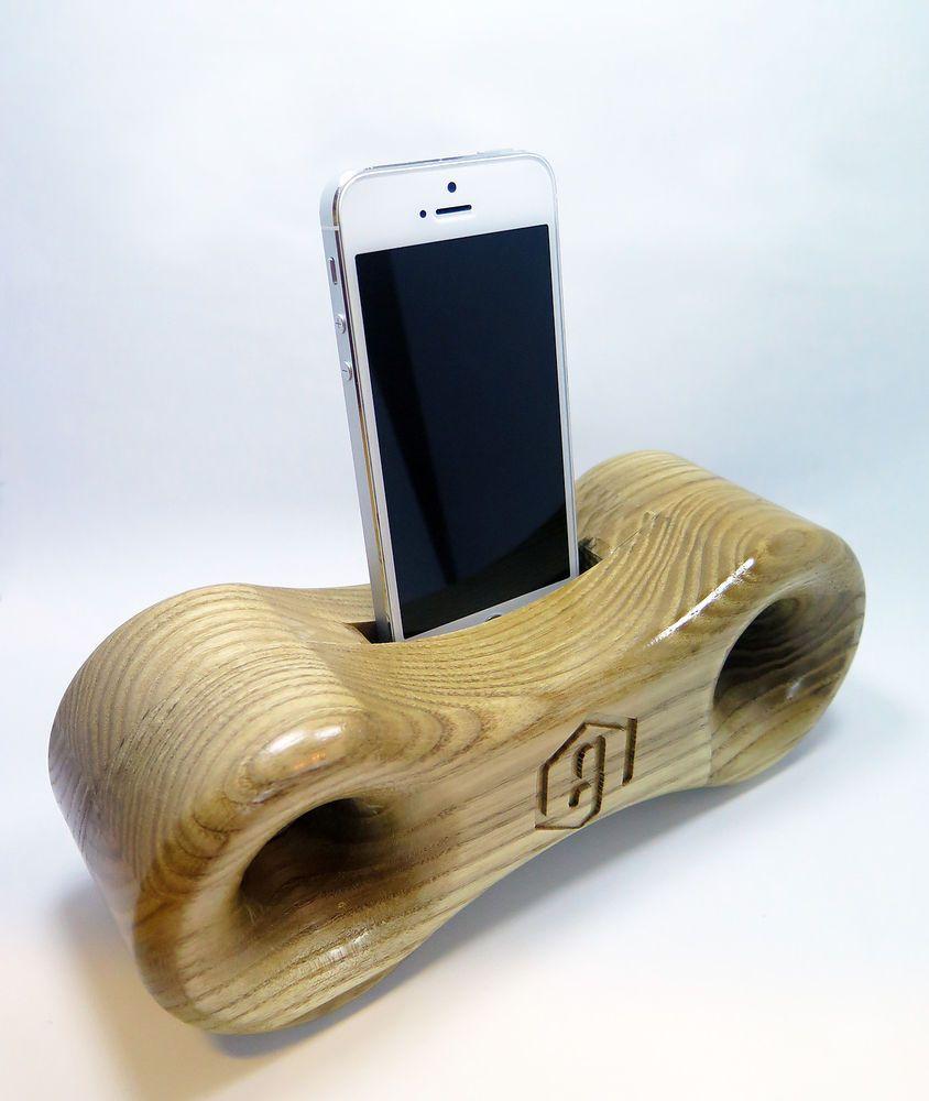 Wooden Acoustic Amplifier Speaker Dock for iPhone 6, 5S/5 Cradle Stand PEANUT