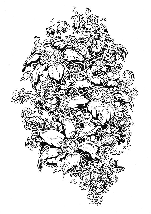 Doodle Invasion Coloring Book (Behance.net Featured Projects) | para ...