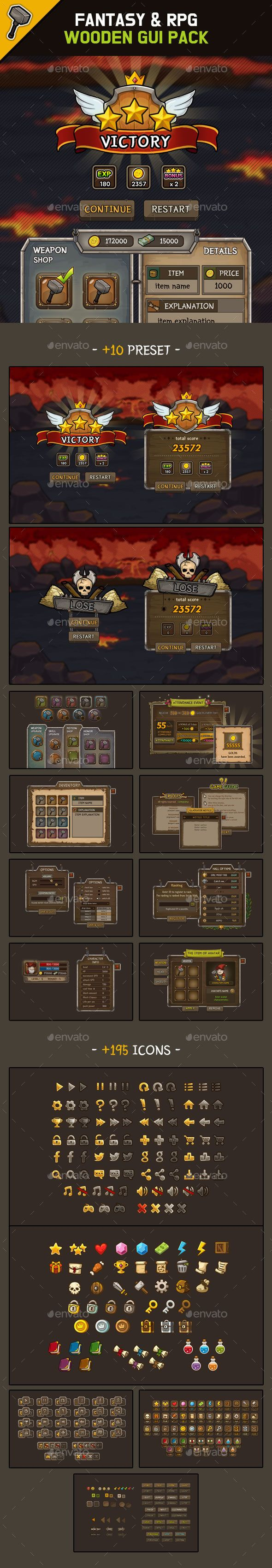 Fantasy Wooden GUI : Package #Wooden, #Fantasy, #Package