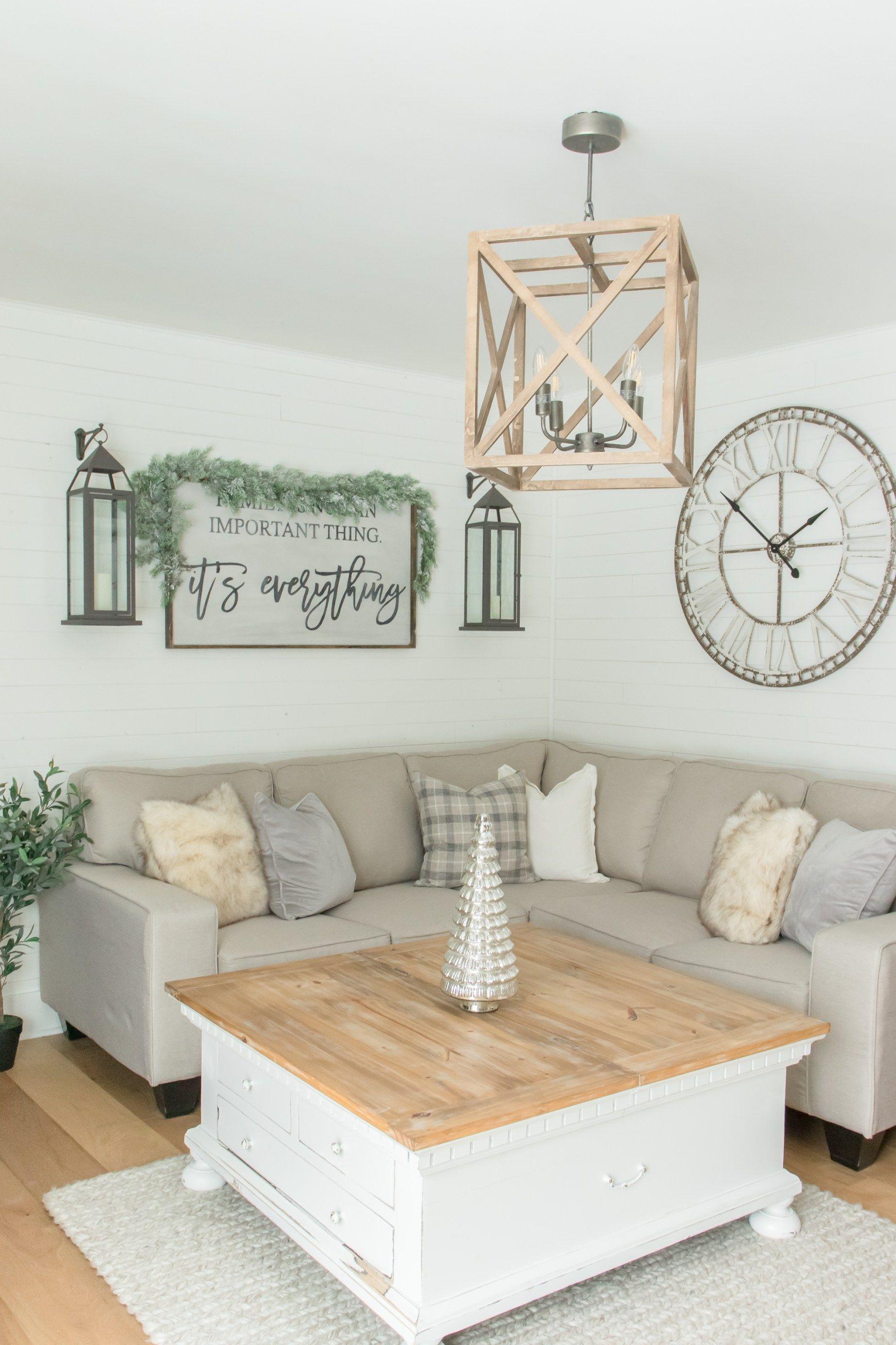 Best Cozy Neutral Farmhouse Christmas Living Room Tour 400 x 300
