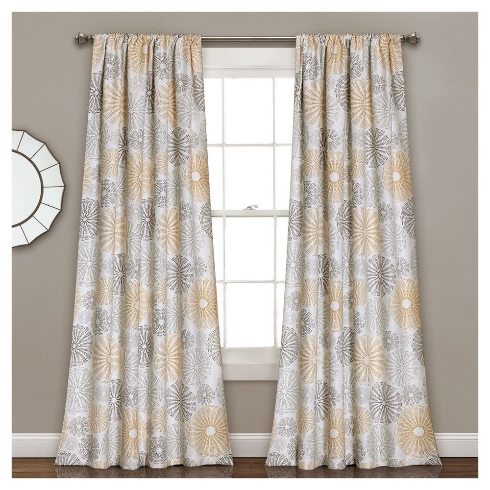 Multi Circles Room Darkening Window Curtain Set Yellow 84 X52