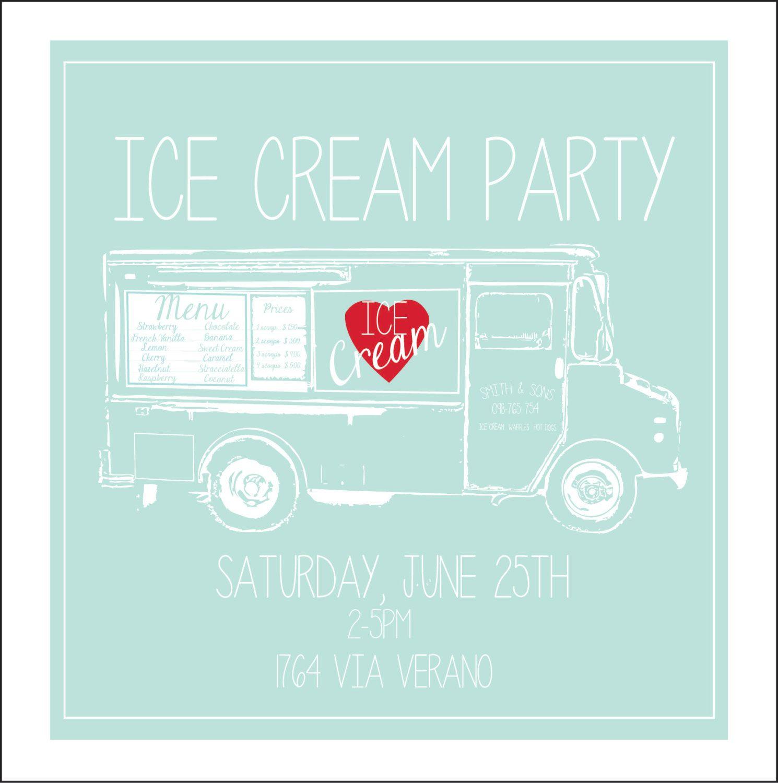 Ice Cream Party Invitation PRINTABLE PDF. $10.00, via Etsy ...