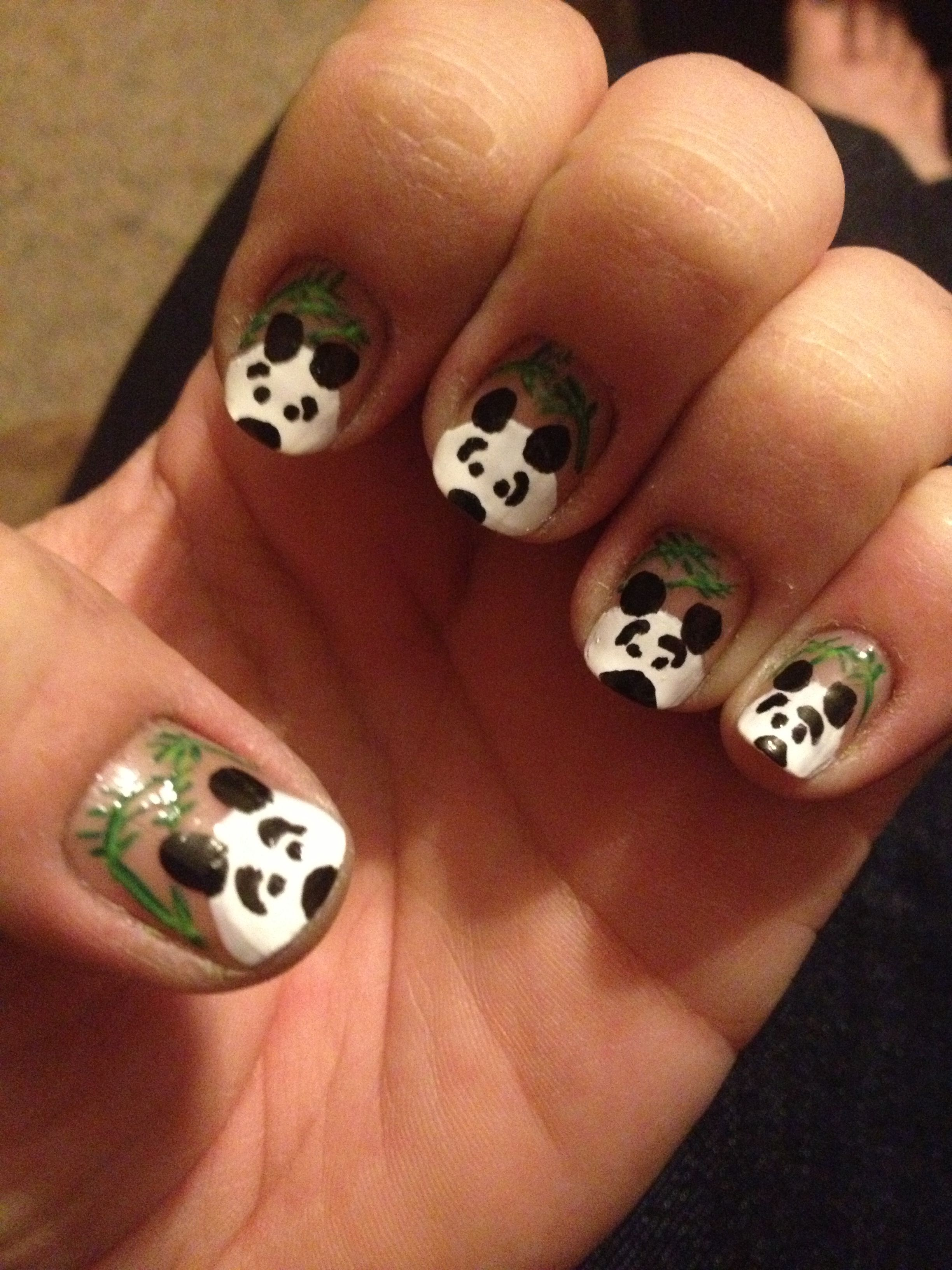 Panda Bear Nail Art Nails Pinterest Panda bear nails Hair