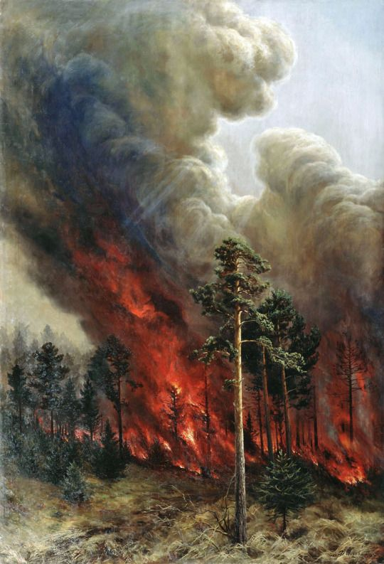 Alexei Denisov Kuzmich Wildfire 1897 Fire Painting Fire Art
