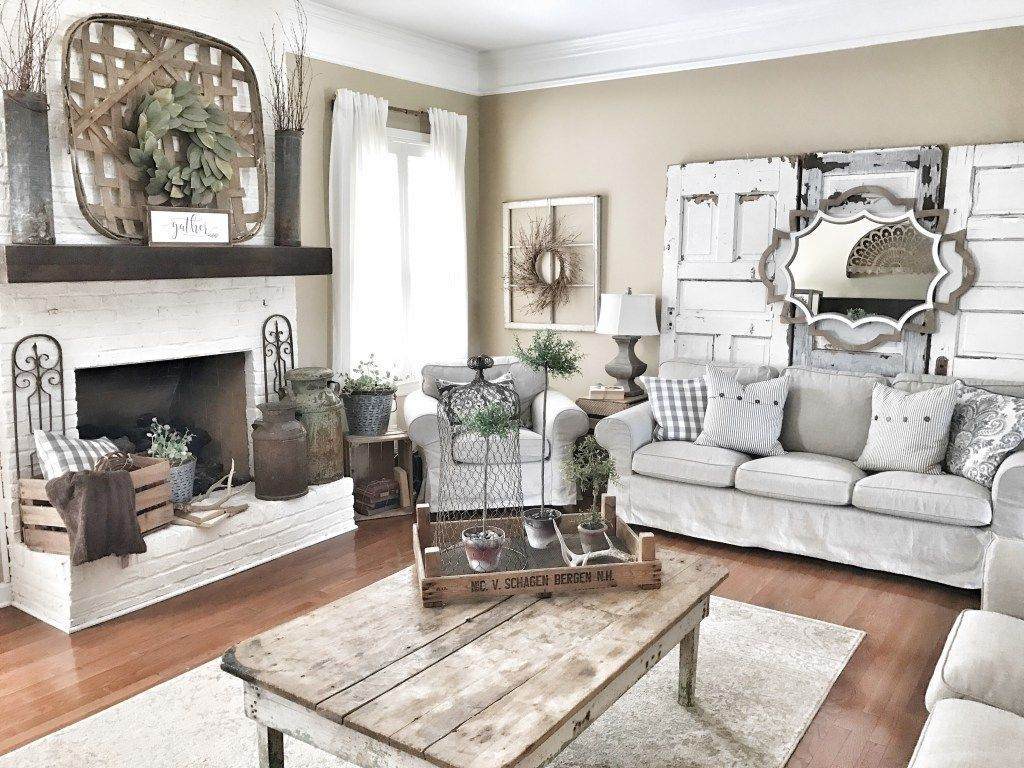 10+ Most Popular White Farmhouse Living Room Furniture