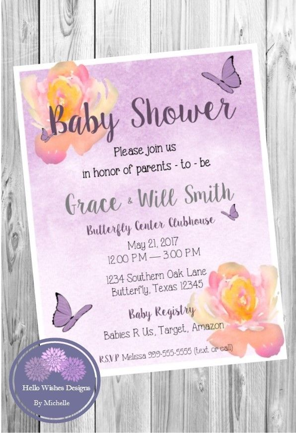 watercolor flower butterfly baby shower invitation bridal shower
