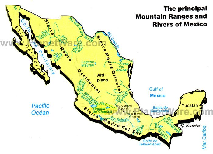 map of mexico mountain ranges rivers planetware