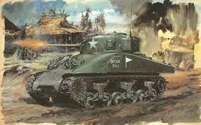 Op dit schilderij zie je duidelijk wat er aan de hand is. Je ziet een tank die een dorp aanvalt. Het is in een soort van stripachtige manier geschilderd, het lijkt bijna getekend. De fijne lijnen zorgen hier voor. Strijd wordt duidelijk afgebeeld. Je ziet vuur uit de loop van de tank komen, wat erop wijst dat deze schiet.