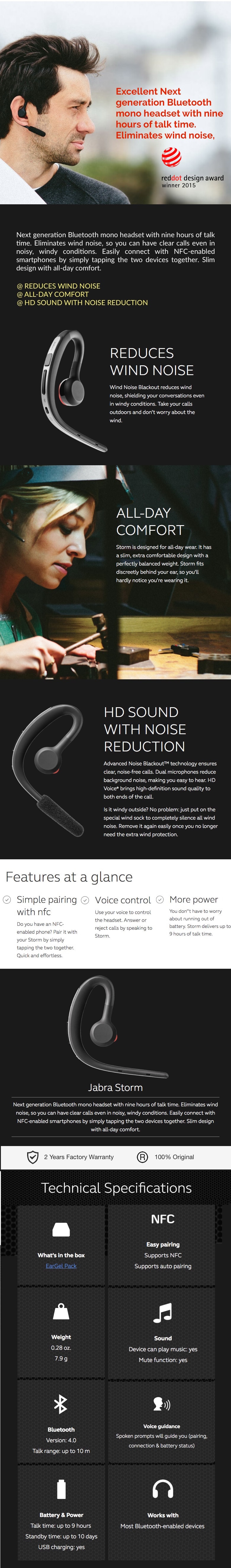 Jabra Storm Wireless Bluetooth Headset For Iphone Samsung Phone Dhause