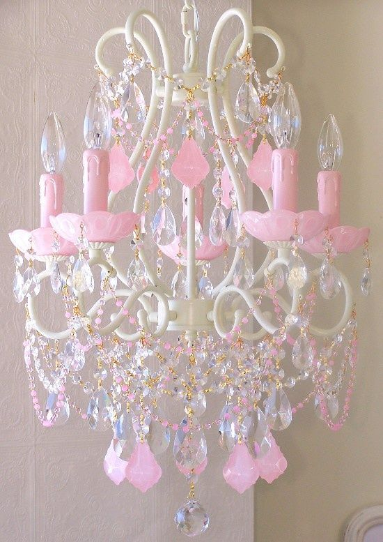 5 Light Beaded Chandelier With Opal Pink Crystals Pink Crystal