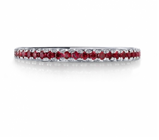The perfect addition to a wedding set or a perfect right hand ring! Genuine Ruby and Diamond Band Set in white gold. Available at Gittelson Jewelers