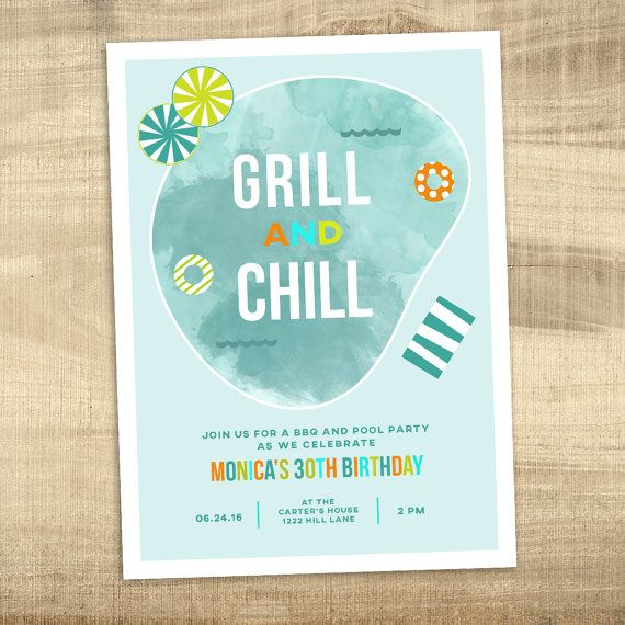 Summer Pool Party And BBQ Invitation 40th 30th Birthday Grill Chill