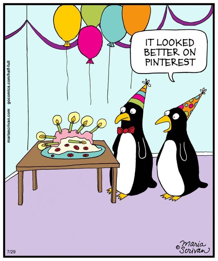 It looked better on Pinterest   Half Full (2014-07-29) via GoComics