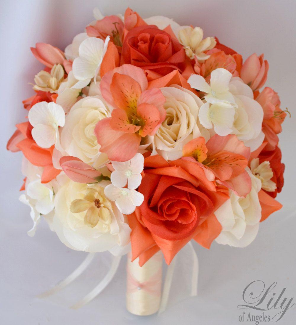 """#Bruidsboeket van zijden bloemen in koraal, ivoor en oranje. Wedding Bridal Bouquet Silk Flower  CORAL IVORY ORANGE """"Lily of Angeles"""""""