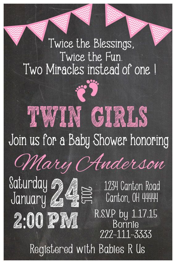 Twin Girls Baby Shower Invitation - Twin Girls Pink Invite - Twin ...