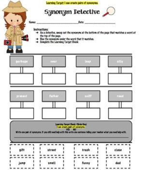 free synonym detective worksheet students will read the