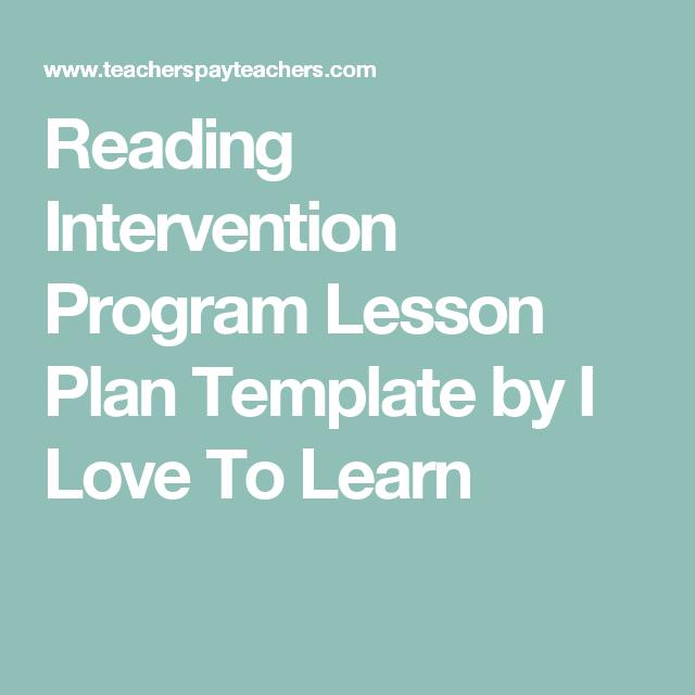 Reading Intervention Program Lesson Plan Template Reading