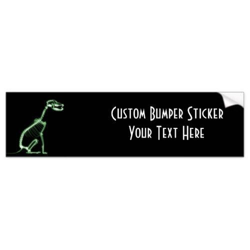 X ray puppy dog skeleton sitting green bumper sticker