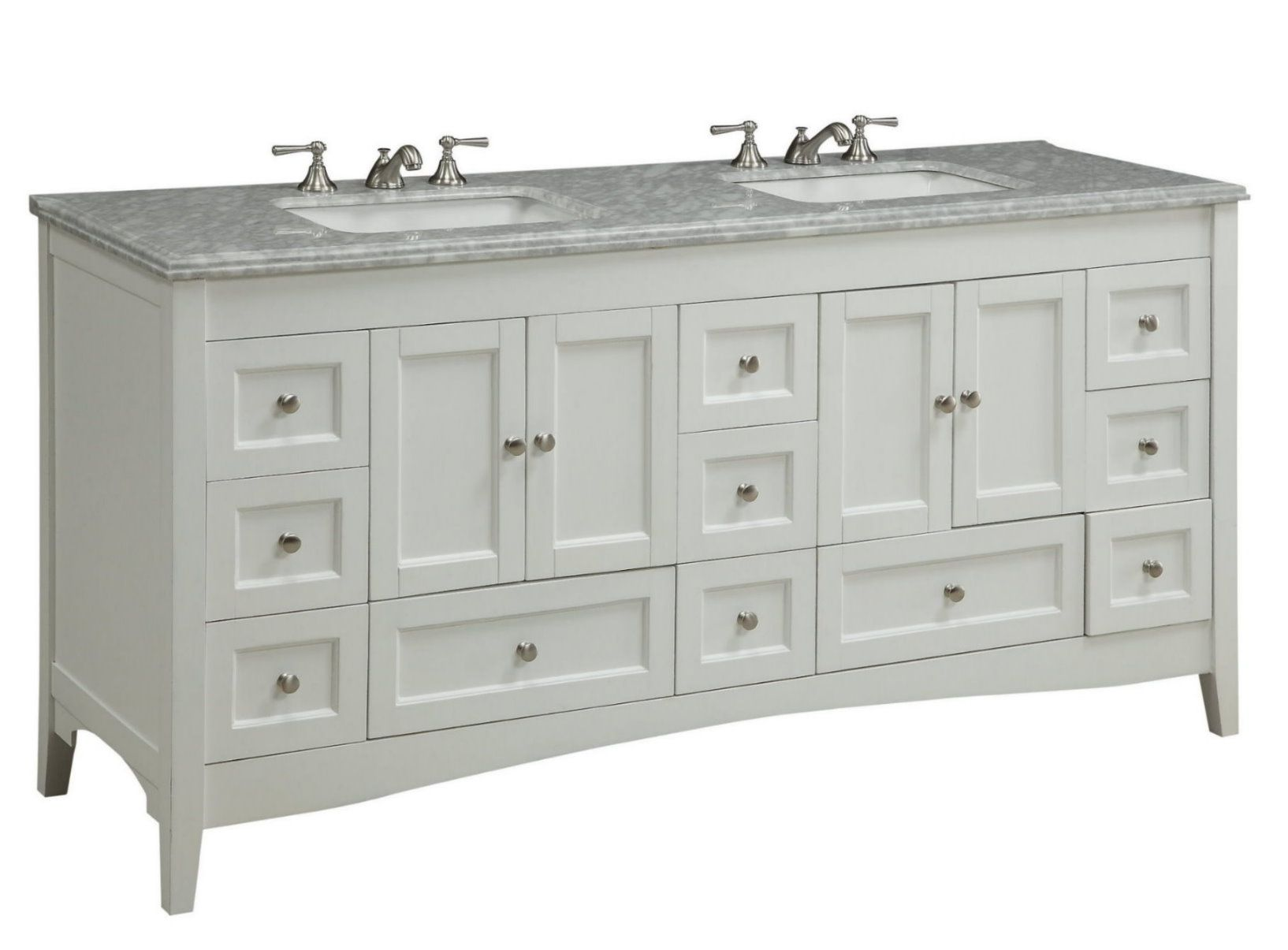 Adelina 72 Inch Double Sink Bathroom Vanity White Finish In 2020