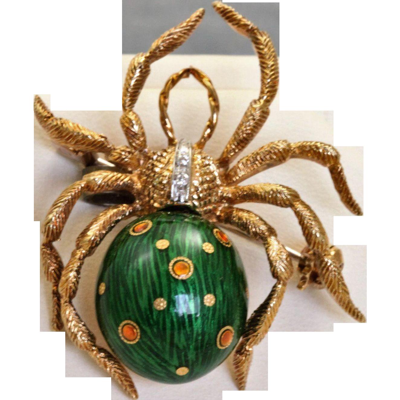 Estate 18 K Diamond Enamel Spider found at www.rubylane.com @rubylanecom