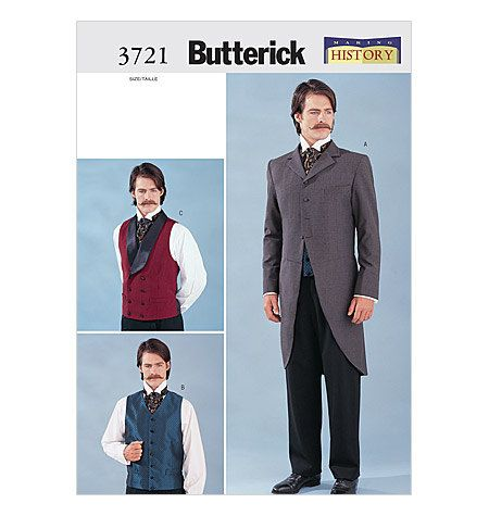 Butterick 3721 Sewing Pattern Men's Civil War by EleanorMeriwether, $36.00